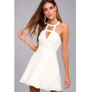 LULUS All My Daydreams White Lace Skater Dress